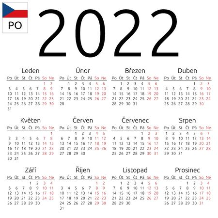 Simple annual 2022 year wall calendar. Czech language. Week starts on Monday. Saturday and Sunday highlighted. No holidays highlighted. EPS 8 vector illustration, no transparency, no gradients Illustration