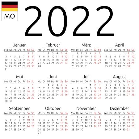 Simple annual 2022 year wall calendar. German language. Week starts on Monday. Saturday and Sunday highlighted. No holidays highlighted. EPS 8 vector illustration, no transparency, no gradients