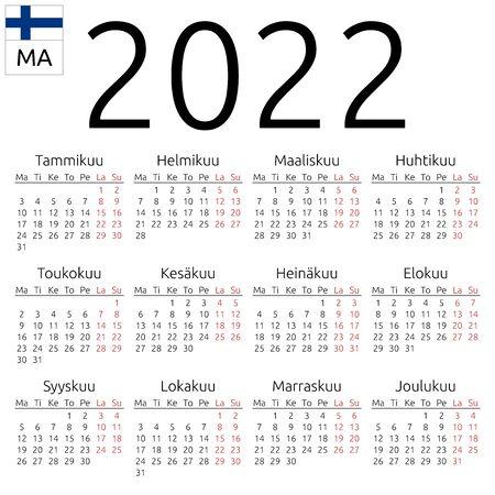Simple annual 2022 year wall calendar. Finnish language. Week starts on Monday. Highlighted Saturday and Sunday, no holidays. EPS 8 vector illustration, no transparency, no gradients Illusztráció