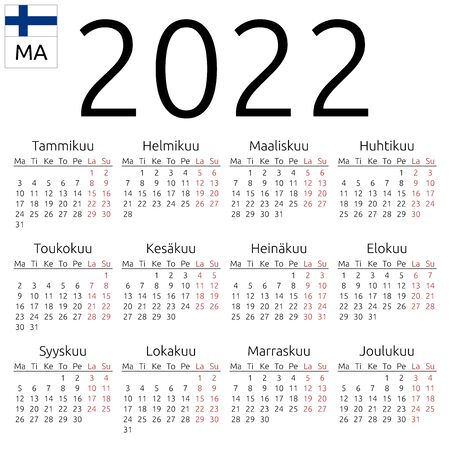 Simple annual 2022 year wall calendar. Finnish language. Week starts on Monday. Highlighted Saturday and Sunday, no holidays. EPS 8 vector illustration, no transparency, no gradients Illustration