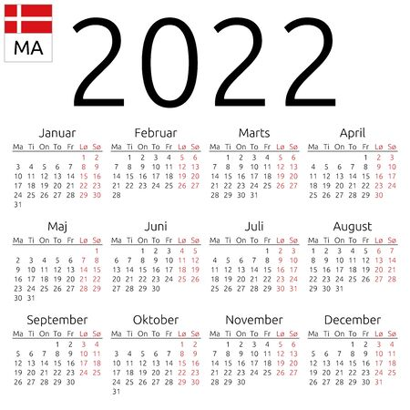 Simple annual 2022 year wall calendar. Danish language. Week starts on Monday. Saturday and Sunday highlighted. No holidays highlighted. EPS 8 vector illustration, no transparency, no gradients