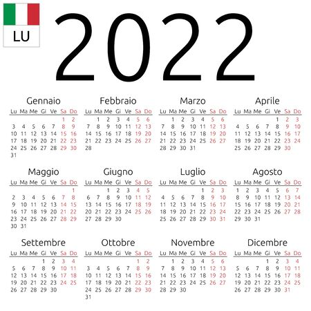 Simple annual 2022 year wall calendar. Italian language. Week starts on Monday. Saturday and Sunday highlighted. No holidays highlighted. EPS 8 vector illustration, no transparency, no gradients