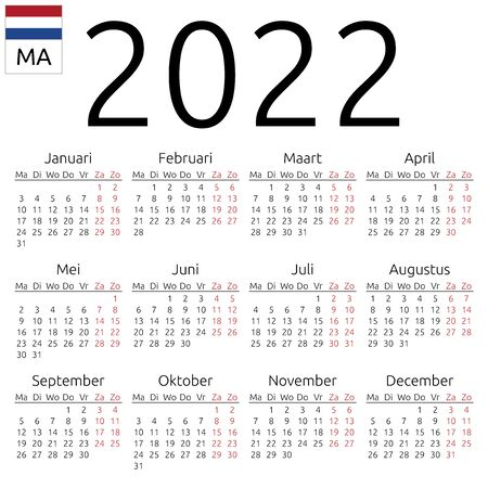 Simple annual 2022 year wall calendar. Dutch language. Week starts on Monday. Highlighted Saturday and Sunday, no holidays. EPS 8 vector illustration, no transparency, no gradients