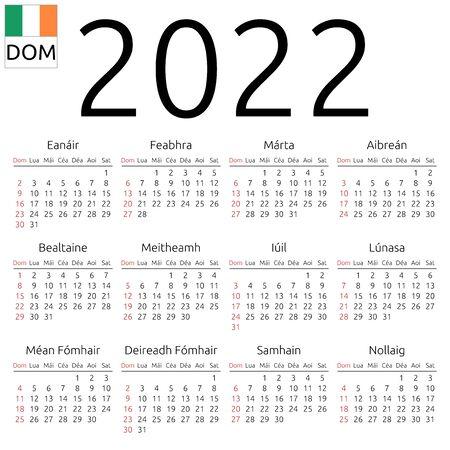 Simple annual 2022 year wall calendar. Irish language. Week starts on Sunday. Highlighted Sunday, no holidays. EPS 8 vector illustration, no transparency, no gradients