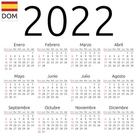 Simple annual 2022 year wall calendar. Spanish language. Week starts on Sunday. Sunday highlighted. No holidays highlighted. EPS 8 vector illustration, no transparency, no gradients Иллюстрация
