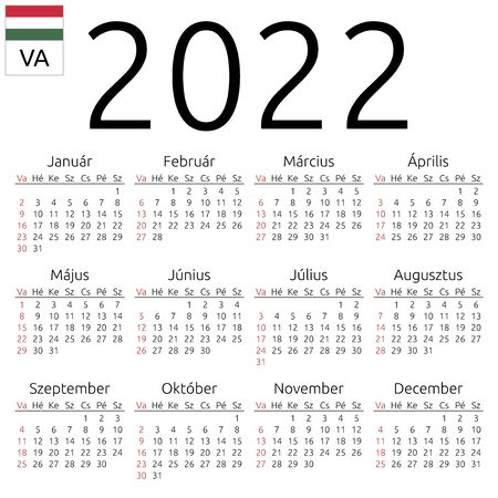 Simple annual 2022 year wall calendar. Hungarian language. Week starts on Sunday. Sunday highlighted. No holidays highlighted. EPS 8 vector illustration, no transparency, no gradients