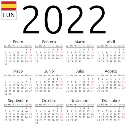 Simple annual 2022 year wall calendar. Spanish language. Week starts on Monday. Sunday highlighted. No holidays highlighted. EPS 8 vector illustration, no transparency, no gradients Illustration