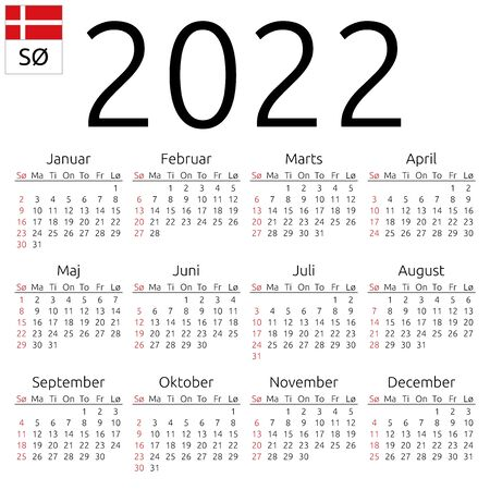 Simple annual 2022 year wall calendar. Danish language. Week starts on Sunday. Sunday highlighted. No holidays highlighted. EPS 8 vector illustration, no transparency, no gradients