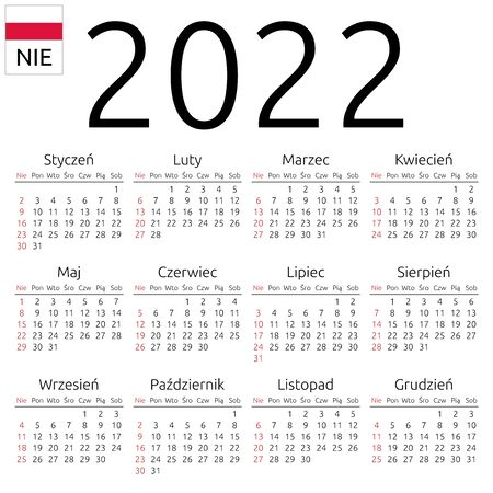 Simple annual 2022 year wall calendar. Polish language. Week starts on Sunday. Highlighted Sunday, no holidays. EPS 8 vector illustration, no transparency, no gradients