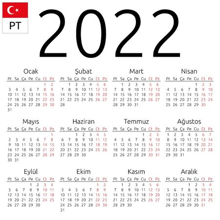 Simple annual 2022 year wall calendar. Turkish language. Week starts on Monday. Saturday and Sunday highlighted. No holidays highlighted. EPS 8 vector illustration, no transparency, no gradients Иллюстрация