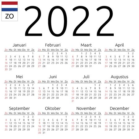 Simple annual 2022 year wall calendar. Dutch language. Week starts on Sunday. Highlighted Sunday, no holidays. EPS 8 vector illustration, no transparency, no gradients