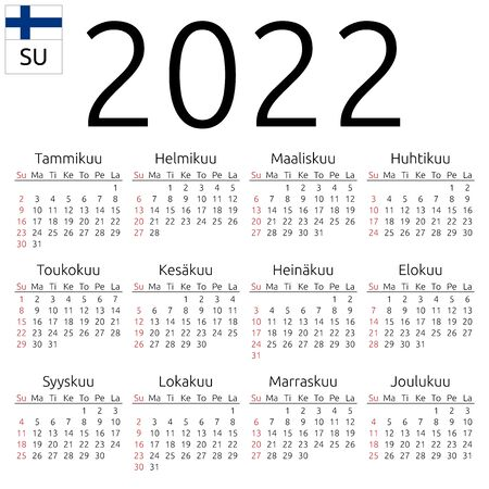 Simple annual 2022 year wall calendar. Finnish language. Week starts on Sunday. Highlighted Sunday, no holidays. EPS 8 vector illustration, no transparency, no gradients Иллюстрация