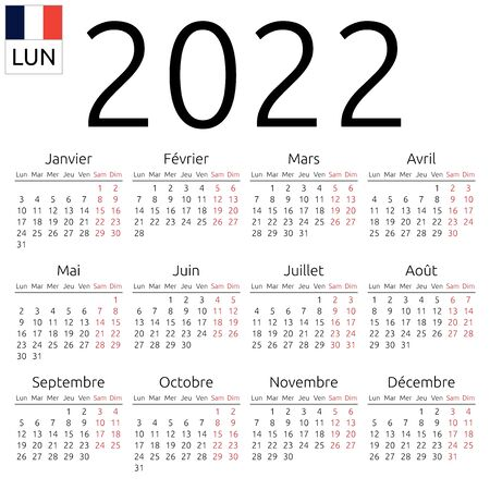Simple annual 2022 year wall calendar. French language. Week starts on Monday. Saturday and Sunday highlighted. No holidays highlighted. EPS 8 vector illustration, no transparency, no gradients