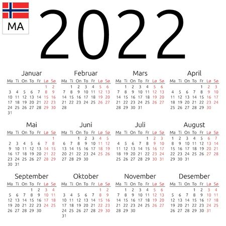 Simple annual 2022 year wall calendar. Norwegian language. Week starts on Monday. Highlighted Saturday and Sunday, no holidays. EPS 8 vector illustration, no transparency, no gradients