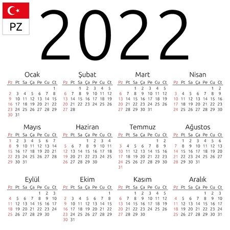 Simple annual 2022 year wall calendar. Turkish language. Week starts on Sunday. Sunday highlighted. No holidays highlighted. EPS 8 vector illustration, no transparency, no gradients Illustration