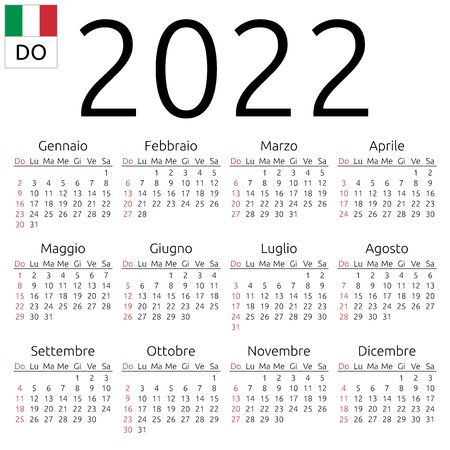 Simple annual 2022 year wall calendar. Italian language. Week starts on Sunday. Sunday highlighted. No holidays highlighted. EPS 8 vector illustration, no transparency, no gradients Иллюстрация