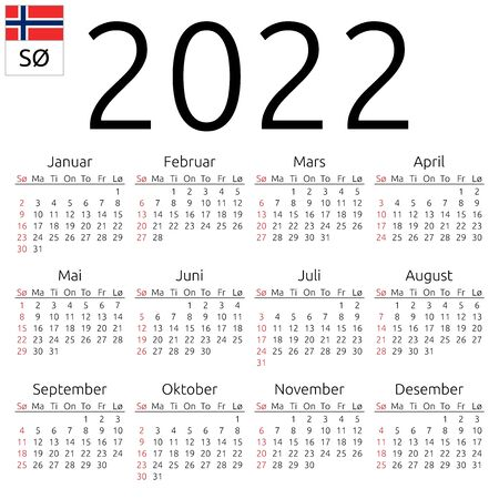 Simple annual 2022 year wall calendar. Norwegian language. Week starts on Sunday. Highlighted Sunday, no holidays. EPS 8 vector illustration, no transparency, no gradients