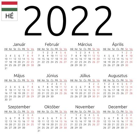 Simple annual 2022 year wall calendar. Hungarian language. Week starts on Monday. Saturday and Sunday highlighted. No holidays highlighted. EPS 8 vector illustration, no transparency, no gradients