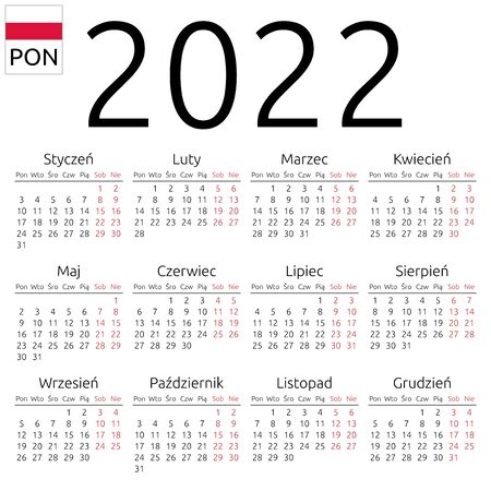 Simple annual 2022 year wall calendar. Polish language. Week starts on Monday. Highlighted Saturday and Sunday, no holidays. EPS 8 vector illustration, no transparency, no gradients