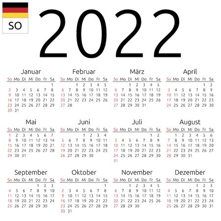 Simple annual 2022 year wall calendar. German language. Week starts on Sunday. Sunday highlighted. No holidays highlighted. EPS 8 vector illustration, no transparency, no gradients Illustration