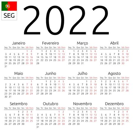 Simple annual 2022 year wall calendar. Portuguese language. Week starts on Monday. Saturday and Sunday highlighted. No holidays highlighted. EPS 8 vector illustration, no transparency, no gradients