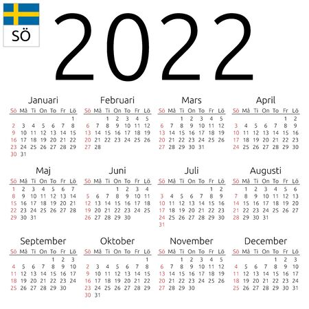 Simple annual 2022 year wall calendar. Swedish language. Week starts on Sunday. Highlighted Sunday, no holidays. EPS 8 vector illustration, no transparency, no gradients