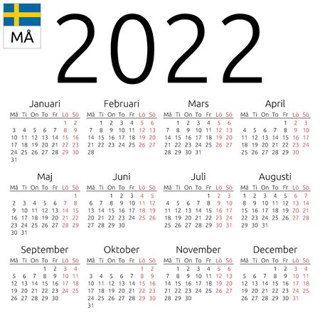 Simple annual 2022 year wall calendar. Swedish language. Week starts on Monday. Highlighted Saturday and Sunday, no holidays. EPS 8 vector illustration, no transparency, no gradients