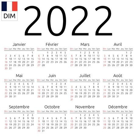 Simple annual 2022 year wall calendar. French language. Week starts on Sunday, Canada. Sunday highlighted. No holidays highlighted. EPS 8 vector illustration, no transparency, no gradients Illustration