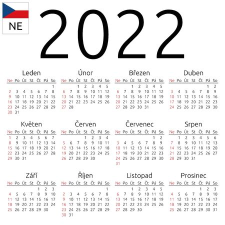 Simple annual 2022 year wall calendar. Czech language. Week starts on Sunday. Sunday highlighted. No holidays highlighted. EPS 8 vector illustration, no transparency, no gradients