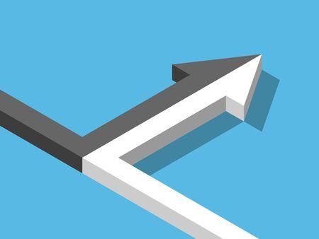 Isometrische pijl van twee zwart-witte die op blauwe achtergrond samenvoegen. Fusie, alliantie, partnerschap en relatie concept. Plat ontwerp. Vectorillustratie, geen transparantie, geen verlopen