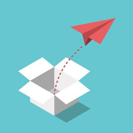 Avion en papier rouge isométrique volant à partir d'un boîtier ouvert blanc. Sortir des sentiers battus, concept d'innovation, de créativité et de liberté. Conception plate. Illustration vectorielle EPS 8, pas de transparence, pas de dégradés Vecteurs