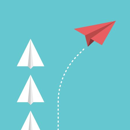 unique paper plane changing direction, dividing from group. Disruption, game changer, innovation, thinking different concept. Flat design.  8 vector illustration,  transparency,  gradients Иллюстрация