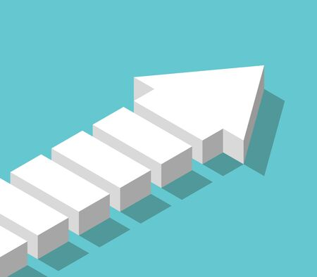 Isometric white fragmented arrow. Partnership, teamwork, step-by step growth, development and management concept. Flat design.