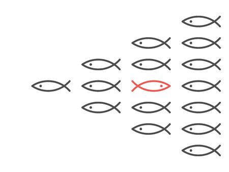 Opposite direction unique red fish in shoal of many black ones. Personality, belief, courage, society and uniqueness concept. Flat design. EPS 8 vector illustration, no transparency, no gradients
