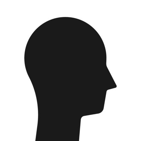 Male head isolated on white. Abstract simple geometric  silhouette. Intelligence, psychology, mind, therapy and person concept. Flat design. EPS 8 vector illustration, no transparency, no gradients