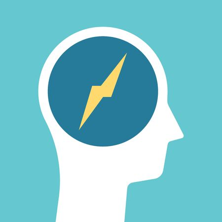 Lightning bolt inside head silhouette. Brainstorming, motivation, inspiration, moment of insight, stress and problem concept. Flat design. EPS 8 vector illustration, no transparency, no gradients
