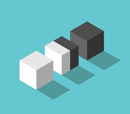 Isometric double cube between white and black. Negotiation, diplomacy, cooperation, conflict and merging concept. Flat design. EPS 8 vector illustration, no transparency, no gradients