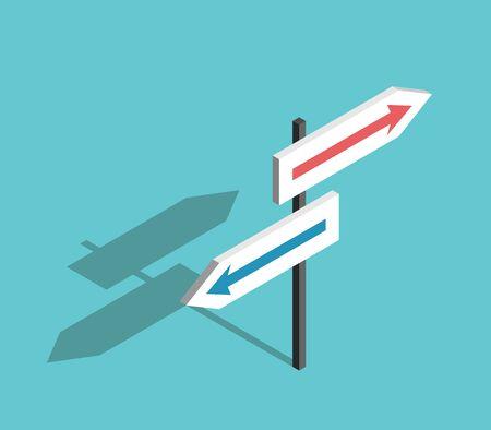 Signo isométrico de dos direcciones con flechas sobre fondo azul turquesa. Concepto de elección, incertidumbre, orientación y decisión. Diseño plano. Ilustración de vector EPS 8, sin transparencia, sin degradados