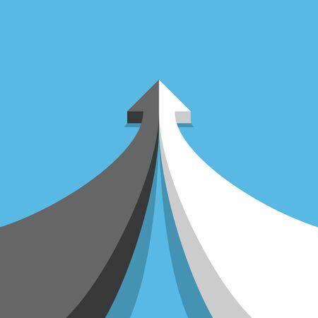 Concepto de opuestos, desarrollo, asociación y fusión. Flecha de dos partes en blanco y negro que se unen en azul. Vista de perspectiva. Diseño plano. Ilustración vectorial, sin transparencia, sin degradados
