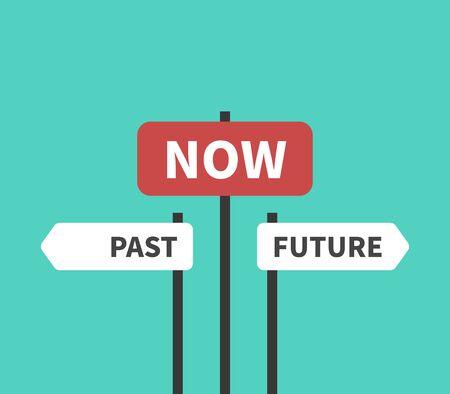 Passé, futur, maintenant, moment présent, destin, vie, concentration et concept de temps. Panneaux de direction et plaques sur fond turquoise ou aigue-marine. Conception plate. Illustration vectorielle EPS 8, pas de transparence