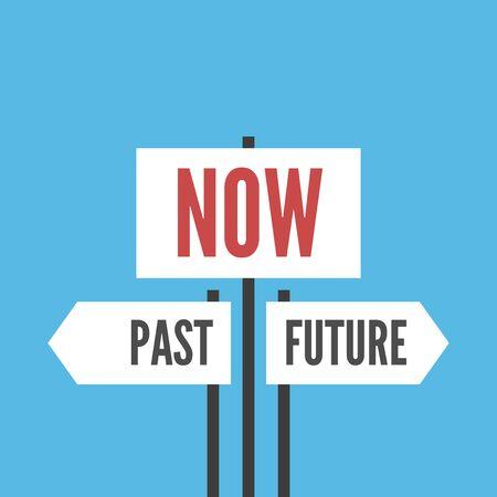 Teraz, przeszłość i przyszłość znaki na niebieskim tle. Koncepcja chwili obecnej, przeznaczenia, życia, psychologii, ostrości i czasu. Płaska konstrukcja. Ilustracja wektorowa EPS 8, bez przezroczystości
