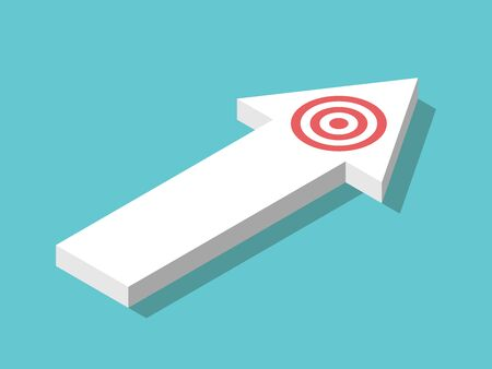 Isometric arrow shape with target on it on turquoise blue. Focus, concentration, determination, progress and ambition concept. Flat design. EPS 8 vector illustration, no transparency, no gradients