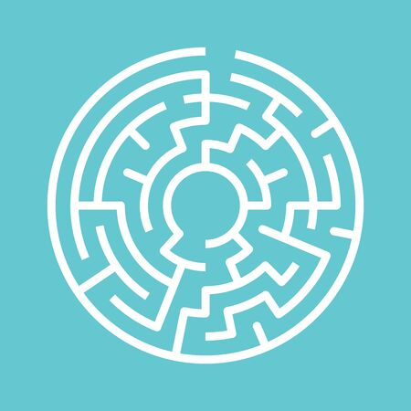 Circular maze on turquoise blue. Game, way, problem, decision, confusion and challenge concept. Flat design. EPS 8 vector illustration, no transparency, no gradients Stok Fotoğraf - 137784714