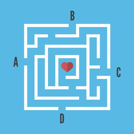 Square maze with heart in centre of it and four options on blue background. Game, choice, love, search and doubt concept. Flat design. EPS 8 vector illustration, no transparency, no gradients Stok Fotoğraf - 137784715