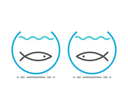Two fishes separated in fishbowls. Obstacle, separation, communication, relationship, yearning and intimacy concept. Line art Flat design. EPS 8 vector illustration, no transparency, no gradients