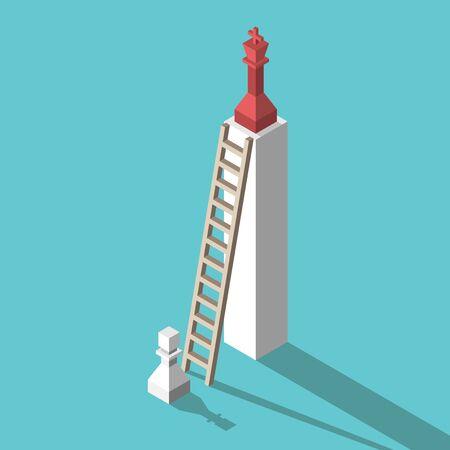 Pion d'échecs blanc isométrique, échelle et piédestal haut avec roi rouge. Concept d'inégalité, de concurrence, d'ambition, d'envie et de réussite. Conception plate. Illustration vectorielle, pas de transparence, pas de dégradés