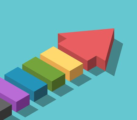 Isometric segmented arrow made of many parts of various colors. Teamwork, cooperation, diversity and variety concept. Flat design. EPS 8 compatible vector illustration, no transparency, no gradients