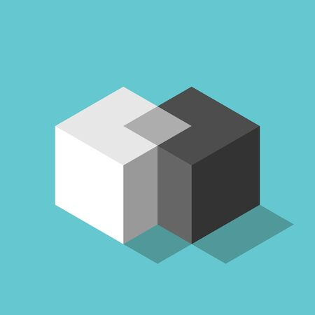 Cubes merging. Merger, teamwork, negotiation, unification concept. Two isometric white and black blocks uniting on turquoise blue. Flat design. EPS 8 vector illustration, no transparency, no gradients