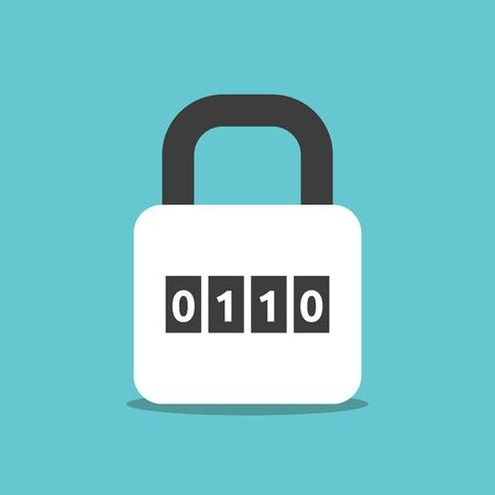 Binary combination padlock with zeroes and ones on turquoise blue. Lock, cyber security, data and privacy concept. Flat design. EPS 8 vector illustration, no transparency, no gradients Stok Fotoğraf - 137784796