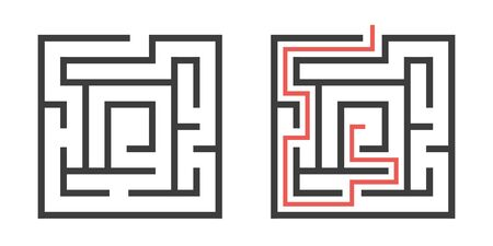 Two square mazes isolated on white, task and solution template. Problem, game and challenge concept. Flat design. EPS 8 vector illustration, no transparency, no gradients Stok Fotoğraf - 137784798